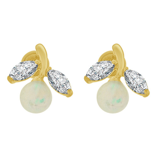 14k Yellow Gold, Mini Size Faux Created Opal & Synthetic CZ Crystals Stud Earring Screw Back (E110-009)