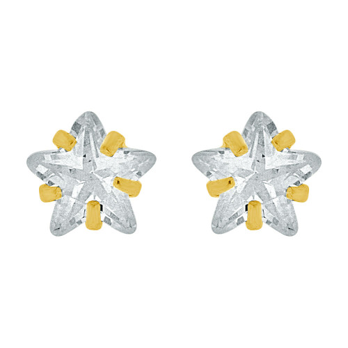 14k Yellow Gold, Mini Tiny Size Stud Earring Star Shape Created CZ Crystals Screw Back (E110-014)