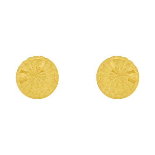 14k Yellow Gold, Mini Size Half Dome Sparkly Cut Stud Screw Back Earring (E110-015)