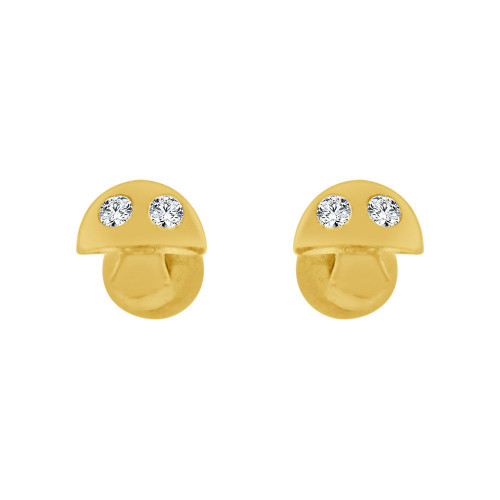 14k Yellow Gold, Mini Tiny Baby Mushroom Stud Screw Back Earring Created CZ Crystals (E110-018)