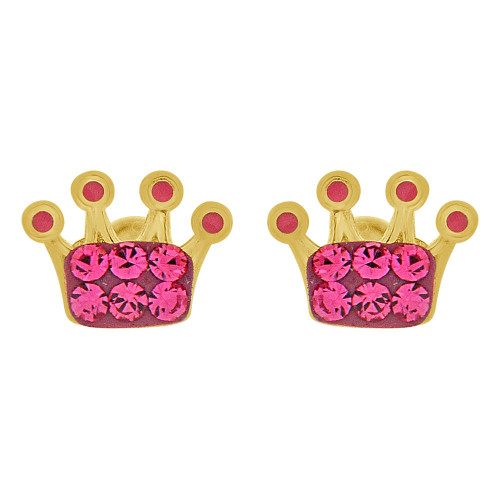 14k Yellow Gold, Hot Pink Enamel Mini Crown Baby Tiara Tiny Stud Screw Back Earring Created CZ (E110-019)