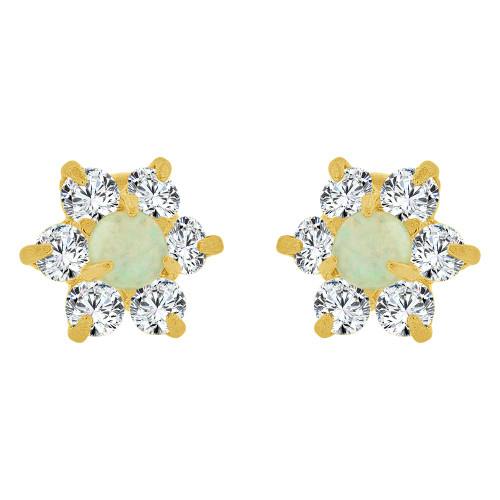 14k Yellow Gold, Mini Size Faux Created Opal & Created CZ Crystals Stud Earring Screw Back (E110-101)