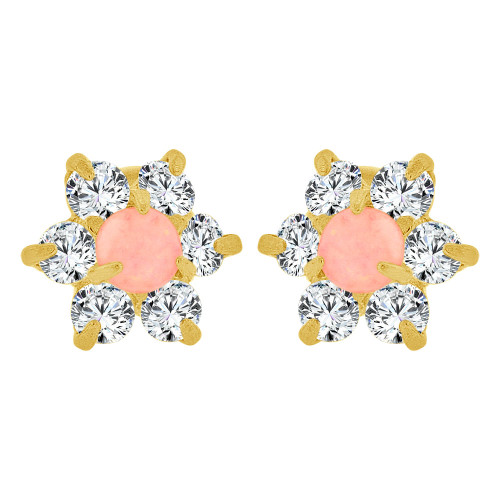 14k Yellow Gold, Mini Size Faux Created Opal & Created CZ Crystals Stud Earring Screw Back (E110-102)