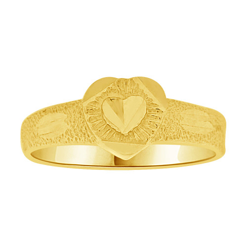 14k Yellow Gold, Mini Size Baby Child Kid Ring Sparkly Heart Design (R251-002)