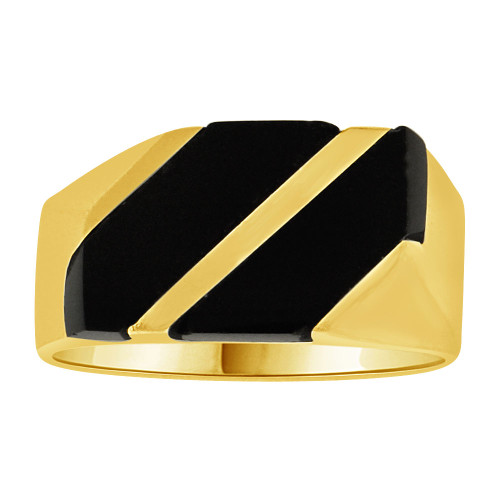 14k Yellow Gold, Fancy Kid's Ring Special Cut Created Black Onyx Pinky Ring (R252-008)