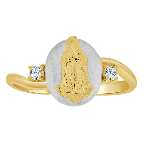 14k Yellow & White Gold, Religious Mini Size Virgin Mary Ring Created CZ Crystals (R252-022)