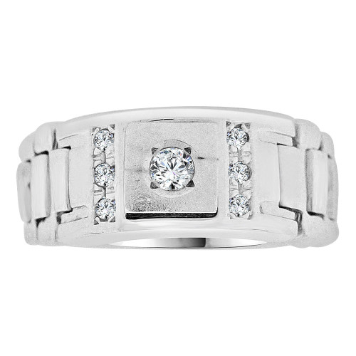 14k Gold White Rhodium, Signet Fancy Semi Flex Small Ring Created CZ Crystals (R252-062)