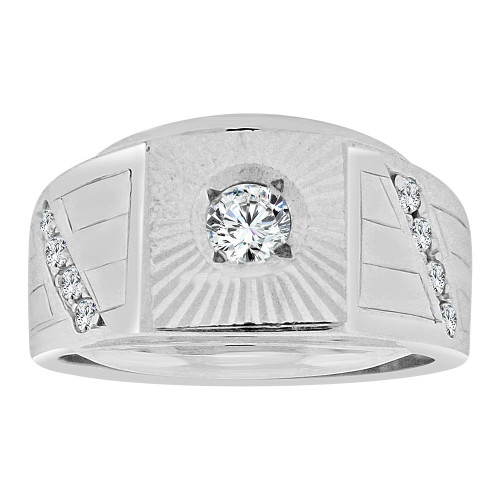 14k Gold White Rhodium, Signet Fancy Ring Created CZ Crystals (R252-063)