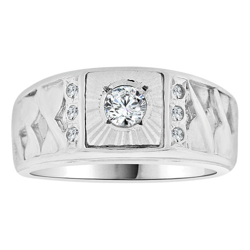 14k Gold White Rhodium, Signet Fancy Small Ring Created CZ Crystals (R252-065)