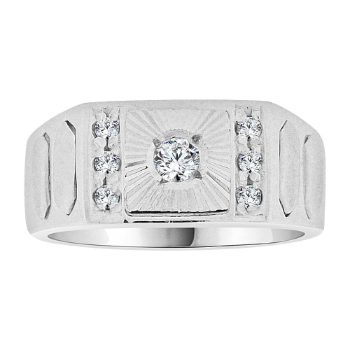 14k Gold White Rhodium, Signet Fancy Ring Created CZ Crystals (R252-068)