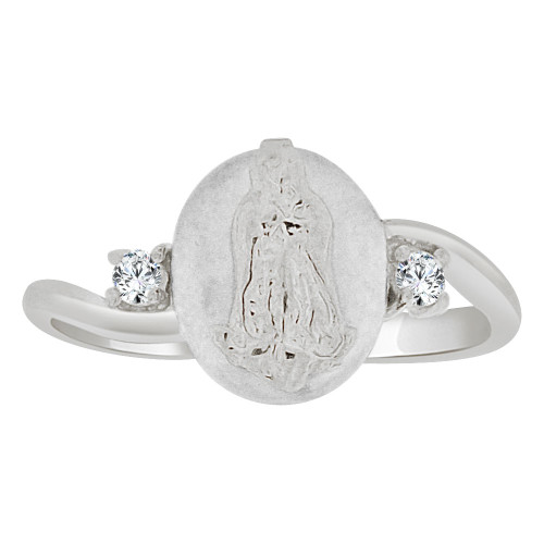 14k Gold White Rhodium, Religious Mini Size Virgin Mary Ring Created CZ Crystals (R252-072)