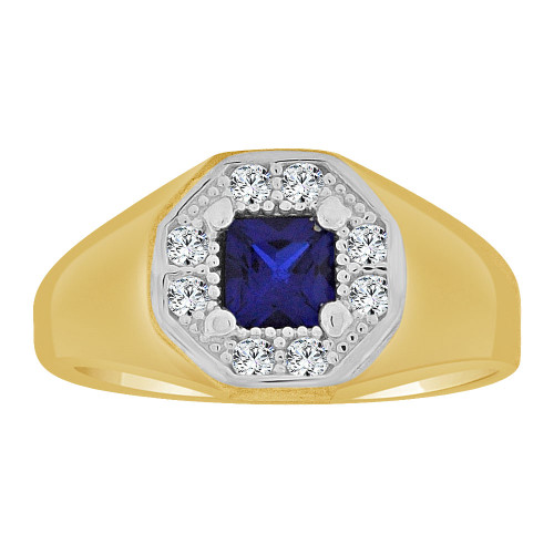 14k Yellow Gold, Classic Ring Blue Created CZ Crystals (R252-209)
