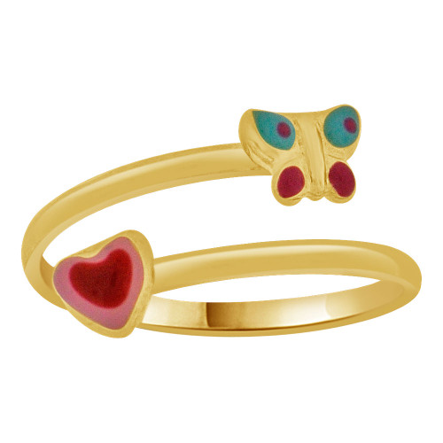 14k Yellow Gold, Children's Ring Enamel Resin Colors Butterfly Heart Design (R253-010)
