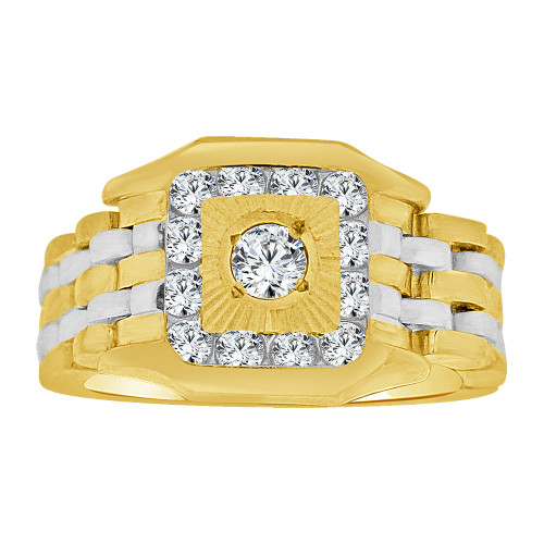 14k Yellow Gold White Rhodium, Boys Signet Fancy Flex Band Ring Created CZ Crystals (R253-011)