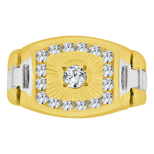 14k Yellow Gold White Rhodium, Boys Signet Fancy Flex Band Ring Created CZ Crystals (R253-012)