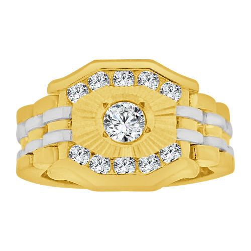14k Yellow Gold White Rhodium, Boys Signet Fancy Flex Band Ring Created CZ Crystals (R253-013)