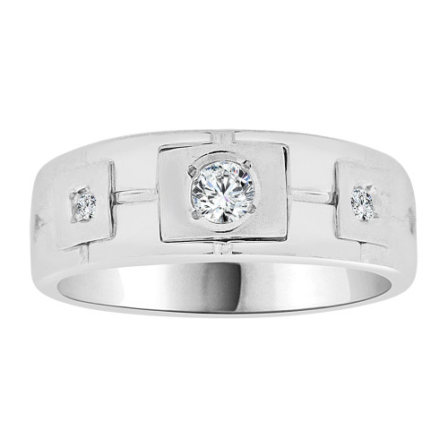 14k Gold White Rhodium, Boys Signet Fancy Band Ring Created CZ Crystals (R253-059)