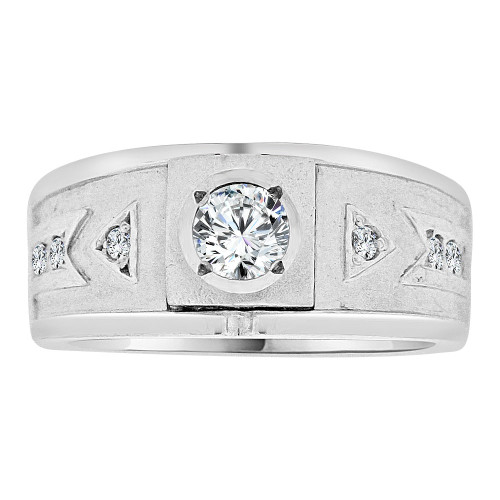 14k Gold White Rhodium, Boys Signet Fancy Band Ring Created CZ Crystals (R253-065)