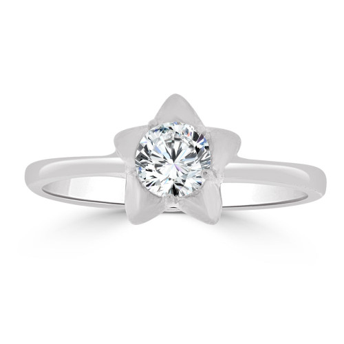 14k Gold White Rhodium, Small Size Ring Created CZ Star Children & Adult Pinky (R253-554)