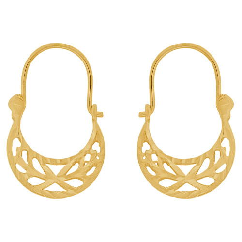 14k Yellow Gold, Small Size Classic Filigree Design Basket Design Hoop Earring (E079-003)