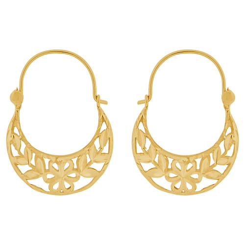 14k Yellow Gold, Flower Classic Filigree Design Basket Design Hoop Earring (E079-004)