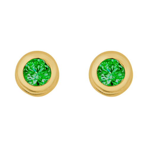 14k Yellow Gold, Round Bezel 4.5mm May Birthstone Screw Back Stud Earring Created CZ Crystals  (E121-005)