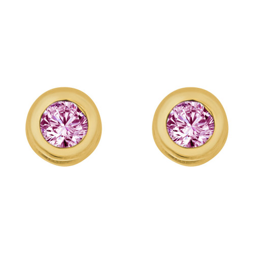 14k Yellow Gold, Round Bezel 4.5mm Jun Birthstone Screw Back Stud Earring Created CZ Crystals  (E121-006)