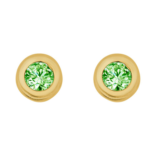 14k Yellow Gold, Round Bezel 4.5mm Aug Birthstone Screw Back Stud Earring Created CZ Crystals  (E121-008)