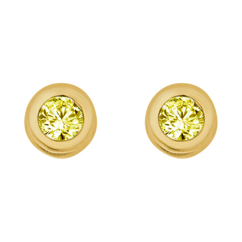 14k Yellow Gold, Round Bezel 4.5mm Jun Birthstone Screw Back Stud Earring Created CZ Crystals (E121-011)