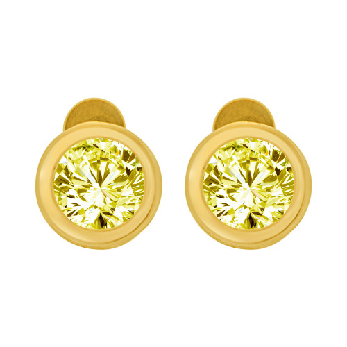 14k Yellow Gold, Round Bezel 6mm Nov Birthstone Screw Back Stud Earring Created CZ Crystals  (E121-111)