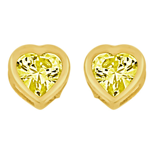 14k Yellow Gold, Heart Bezel 6mm Nov Birthstone Screw Back Stud Earring Created CZ Crystals  (E121-311)