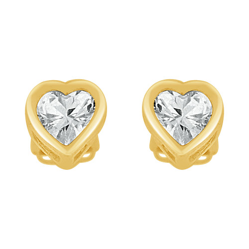 14k Yellow Gold, Heart Bezel 5mm Push Back Stud Earring Created CZ Crystals (E122-001)