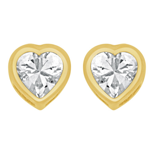 14k Yellow Gold, Heart Bezel 6mm Push Back Stud Earring Created CZ Crystals  (E122-002)