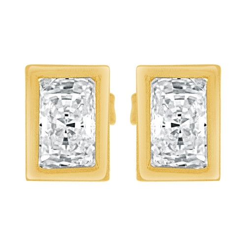 14k Yellow Gold, Rectangle Bezel 5mm Push Back Stud Earring Created CZ Crystals  (E122-015)