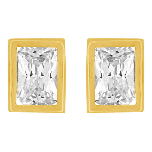 14k Yellow Gold, Rectangle Bezel 6.5mm Push Back Stud Earring Created CZ Crystals  (E122-016)