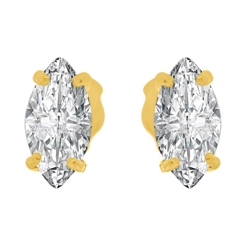 14k Yellow Gold, Oval Marquise 4mm Push Back Stud Earring Created CZ Crystals  (E122-018)