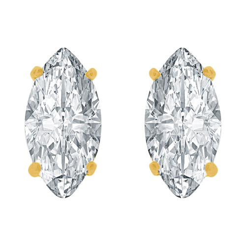 14k Yellow Gold, Oval Marquise 5mm Push Back Stud Earring Created CZ Crystals  (E122-019)
