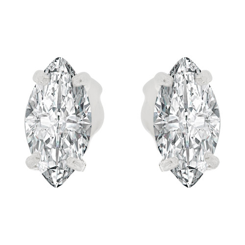 14k Gold White Rhodium, Oval Marquise 4mm Push Back Stud Earring Created CZ Crystals  (E122-020)