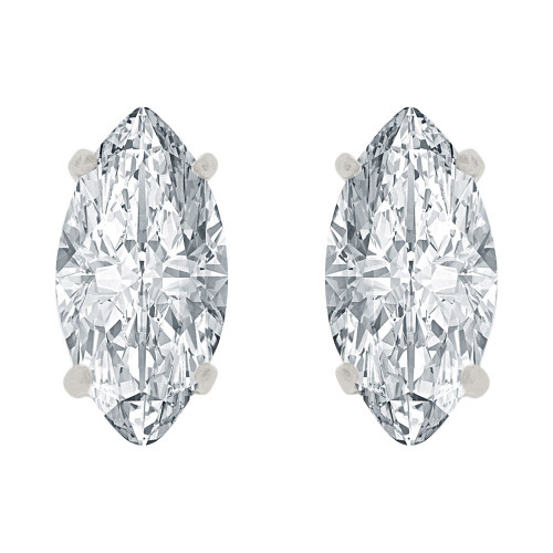 14k Gold White Rhodium, Oval Marquise 5mm Push Back Stud Earring Created CZ Crystals  (E122-021)