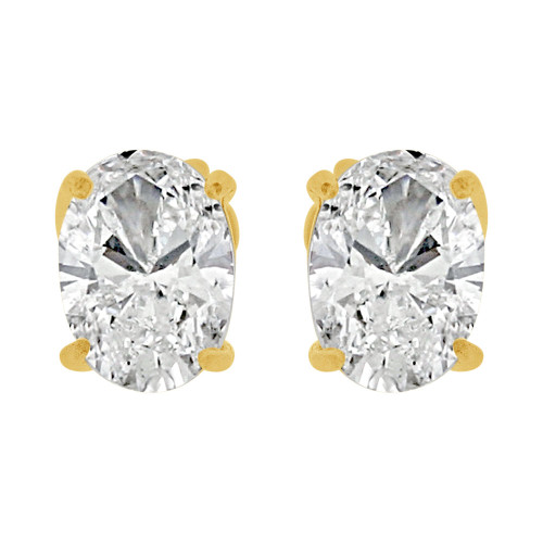14k Yellow Gold, Oval 5mm Push Back Stud Earring Created CZ Crystals  (E122-023)