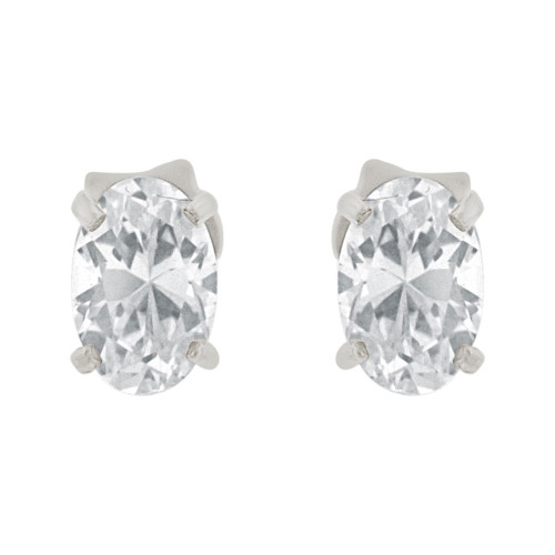 14k Gold White Rhodium, Oval 4mm Push Back Stud Earring Created CZ Crystals  (E122-024)