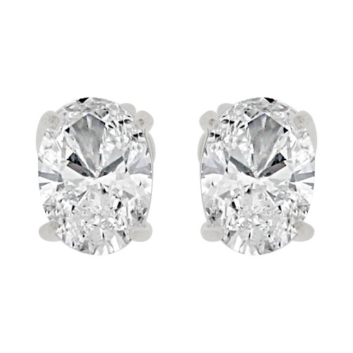 14k Gold White Rhodium, Oval 5mm Push Back Stud Earring Created CZ Crystals  (E122-025)
