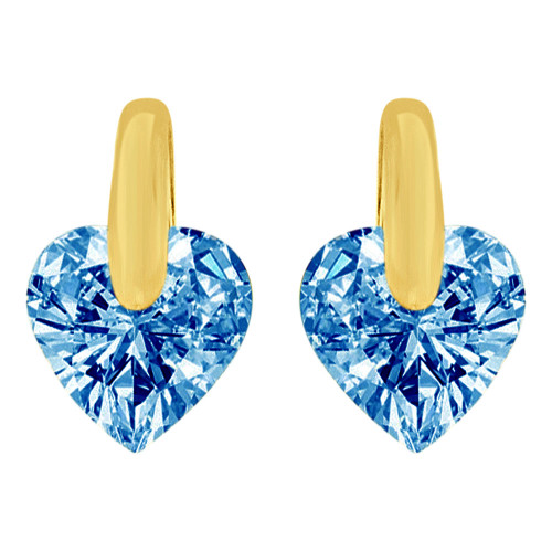14k Yellow Gold, Heart Tension Set 7mm Dec Birthstone Push Back Stud Earring Created CZ Crystals  (E122-412)