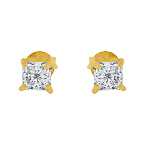 14k Yellow Gold, Princess Cut 3mm Square Stud Earring Push Back Created CZ Crystals (E123-001)