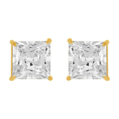 14k Yellow Gold, Princess Cut 5mm Square Stud Earring Push Back Created CZ Crystals (E123-003)