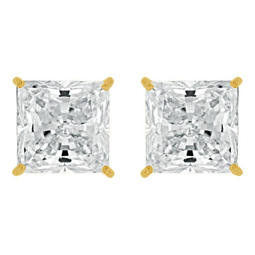 14k Yellow Gold, Princess Cut 6mm Square Stud Earring Push Back Created CZ Crystals (E123-004)
