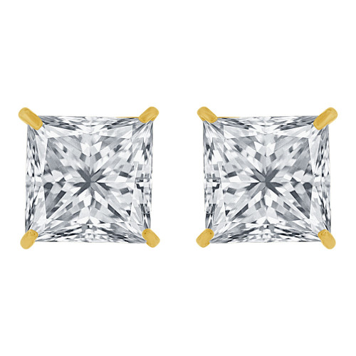 14k Yellow Gold, Princess Cut 8mm Square Stud Earring Push Back Created CZ Crystals (E123-006)