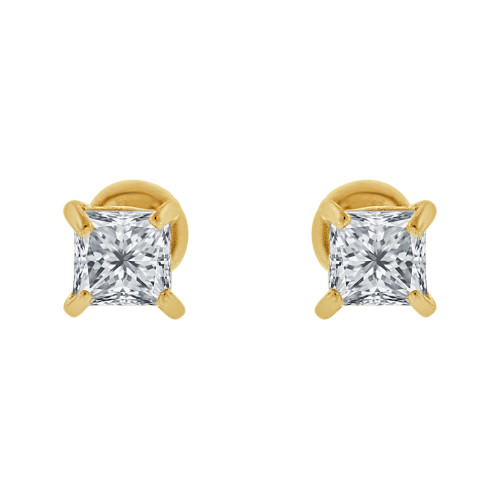 14k Yellow Gold, Princess Cut 3mm Square Stud Earring Screw Back Created CZ Crystals (E123-007)