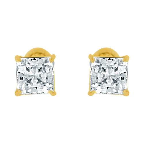 14k Yellow Gold, Princess Cut 4mm Square Stud Earring Screw Back Created CZ Crystals (E123-008)