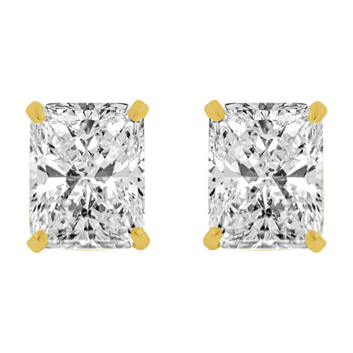 14k Yellow Gold, Rectangle 7mm Stud Earring Push Back Created CZ Crystals (E123-011)